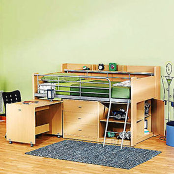 Walmart: Charleston Storage Loft Bed with Desk, Natural