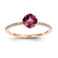 14k Rose Gold Diamond And 6mm Cushion Rhodolite Garnet Ring