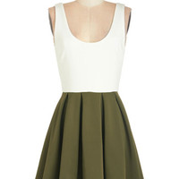 ModCloth Short Length Tank top (2 thick straps) A-line Casually Captivating Dress in Olive