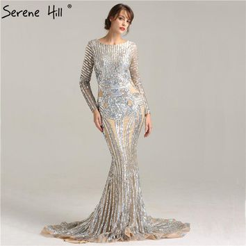 Luxury Grey nude Sexy Sequined Long Sleeves Evening Dress Nude Backless Mermaid Evening Gowns