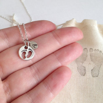 personalized baby feet necklace, new mom gift, monogram hand stamped jewelry, new baby gift, gift for her, birthday gift, silver dainty