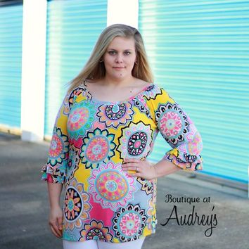 Plus Size Bright Printed Tunic in Yellow, Pink, and Aqua