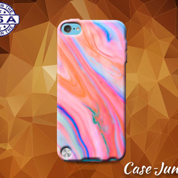 Pink and Blue Marble Tumblr Inspired Cute Custom Rubber Case For iPod Tough 4th Generation Gen And iPod Touch 5th Generation Gen