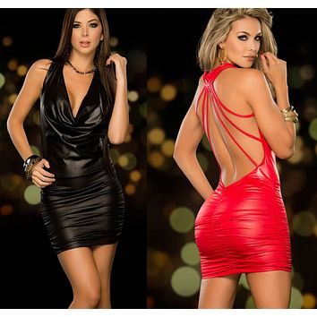 Women Sexy Backless Leather Dress