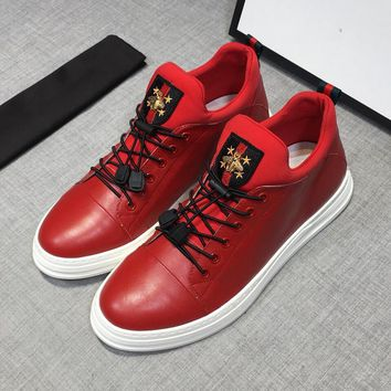 Gucci Red Leather Sneakers - Best Deal Online
