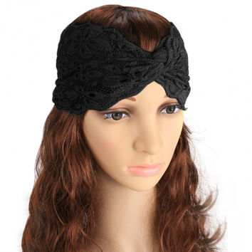 Women Fashion Lace Elastic Twisted Wide Hair Bands Headbands Hair Accessories