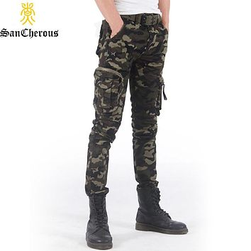 2019 New Spring High Quality Men Full Length Trousers 3 Colors Outwear Camouflage Cargo Pants