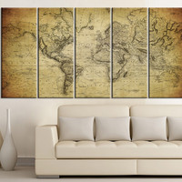 Vintage WORLD MAP Canvas Print on Old World - Old World Map 5 Piece Canvas Art Print - For Home and Office Decoration Wall Art  - Art Print - MC79