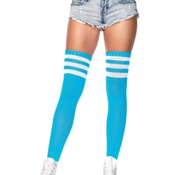 Neon Striped Athletic Thigh Highs