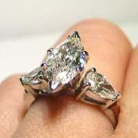 1.76ct MARQUISE Cut 3 Stone DIAMOND ENGAGEMENT Wedding Ring With Pear Side Diamonds in 14k White Gold