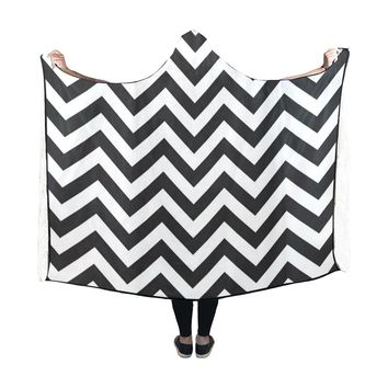 Hooded Blanket Stripe Chevron 60x48 Inch