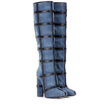 New Fashion 2017 Blue Denim Chunky Heels Woman Knee High Boots Fashion Side Zipper Checkered Female Long Boots Square Toe Shoes