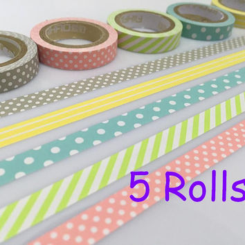 Rainbow tape set 5 Rolls Pastel planner tape polka dots stripe paper Tape set Gift wrap tape Masking Tape yellow pink green baby blue tape