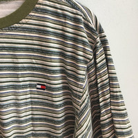 vintage 90s tommy hilfiger striped ringer shirt