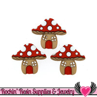 Jesse James Buttons 3 pc MUSHROOM HOUSES Buttons