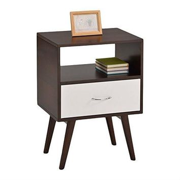 Espresso & White Modern Mid Century Style End Table Nightstand