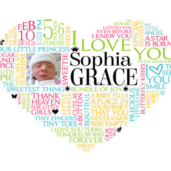 Personalized Baby Girl Heart Word Art For Nursery