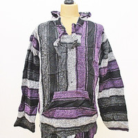 Vintage Mexican Purple Grey Baja Jerga Festival Boho Ethnic Knit Hoody Top 2XL