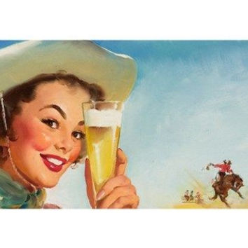 SPECIAL BEER 1953 sexy PIN-UP GIRL vintage poster 24X36 cowboy hat RODEO - QW0