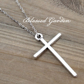 necklace, cross necklace,love necklace,blessed lover gift, antique silver, bridesmaid necklace, christmas gift