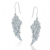 Bling Jewelry Sterling Silver Angel Wings Dangle Earrings