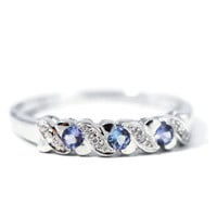 Sterling Silver Tanzanite & Diamond Ring