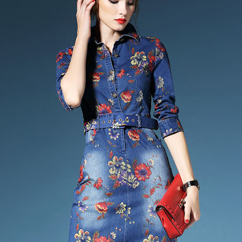 Blue Floral Half Sleeve Pockets Pencil Mini Denim Dress