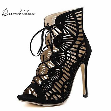 Rumbidzo Brand Women Pumps Casual Peep Toe  Lace Up Cutouts High Heels Shoes Woman High Heele Gladiator Thin Heel Sapatos