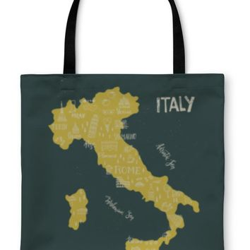 Tote Bag, Handdrawn Symbols Of Italy On Map