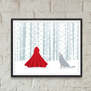 Red Riding Hood Download, Nursery Wall Art, Girls Wall Printable, Fairy Tail Print, Red Riding Hood Illustration, Fairy Tail Illustration