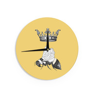 """Catherine Holcombe """"Queen Bee"""" Canary Yellow Wall Clock"""