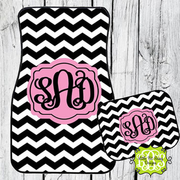 Car Mats Chevron Personalized Monogrammed Floor Car Mat Initial Light Pink Black