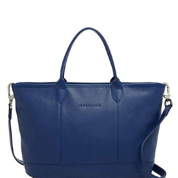 ONETOW Longchamp Women Le Foulonne Leather Zip Top Tote Bag With Shoulder Strap, Blue