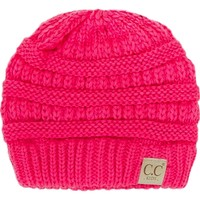 Kids CC Ribbed Beanie, Neon Pink