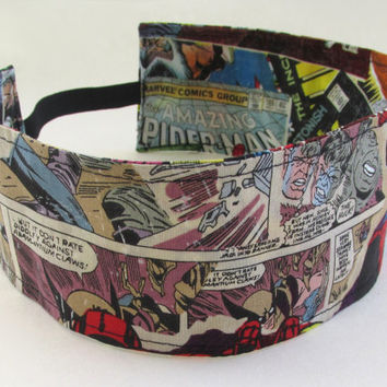 Marvel Comics Headband / Comic Book Hair Accessories / Reversible Fabric Head Band