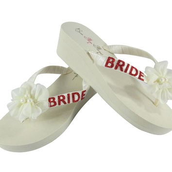 05752c06a7116 Bride Red Glitter Flip Flops with Chiffon Pearl Flowers on White or Ivory  Bridal Wedge Flip