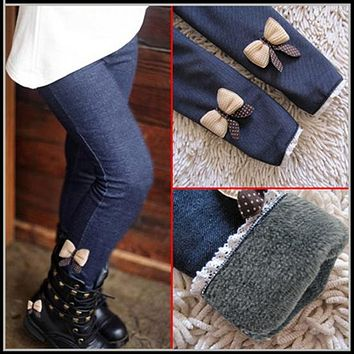 High quality thick warm winter spring Jean pants Bow girls trousers children pants