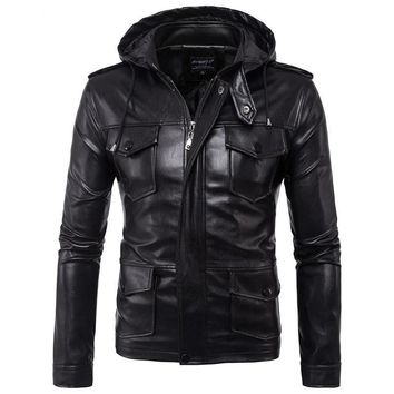 Business Men turndown collar Leather Coat Winter Leather Jacket Men's Hoodies Coat Casual Warm Jackets Veste Cuir Homme