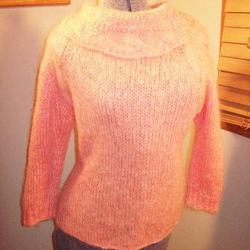 Vintage 50s Peach Colored Rolled Collar Knit Angora Sweater / Rockabilly Sweater Girl