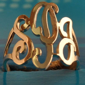 initial monogram ring hand made by US hands ,SSR2 , sterling silver ring.gold plated