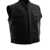 Soa Motorcycle Sons of Anarchy Unique Open Collar Club Leather Vest with Snap and Zipper Front Closure Concealed Gun Pockets Soft Leather