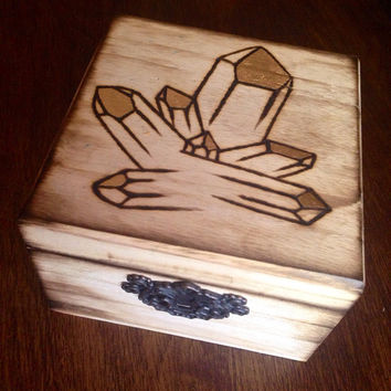 Wood Crystal Box Manifestation Box Dream Box Crystal Design Alter Box Crystal Healing Crystals and Stones Bohemian Decor Crystal Gift