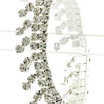 Dripping Rhinestone Bridal Bridesmaid Bracelet Stretch Style Silver Tone