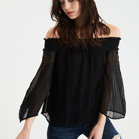 AE Shine Striped Off-the-Shoulder Top, True Black