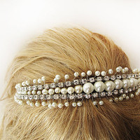 Wedding tiara, wedding headband, Vintage dream  Pearl tiara, bridal hair, wedding accessory,Bridal Headpiece, Rhinestone