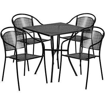 28'' Square Indoor-Outdoor Steel Patio Table Set with 4 Round Back Chairs: Black