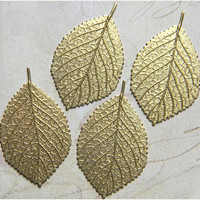 Raw Brass Birch Leaf Stamping 25mm x 42mm - 4 pcs