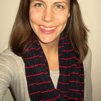 Great for Valentine's Day! Blue & Red Pin Striped, Homemade, Infinity Scarf