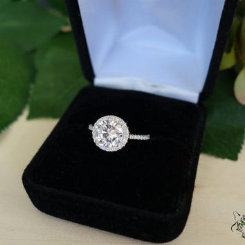 Size 4-10:  2.25 Ct Round Halo Gatsby Engagement Ring, Flawless Man Made Diamond Simulants, Wedding, Promise Ring, Bridal, Sterling Silver