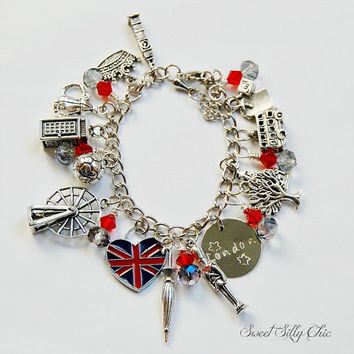 London Charm Bracelet, London Jewelry, England Charm Bracelet, London Travel Jewelry
